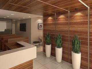 Recepção Comercial Corredores, halls e escadas modernos por LK Studio Arquitetura Moderno