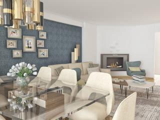 Imagens em 3D.: Salas de estar  por MY STUDIO HOME - Design de Interiores