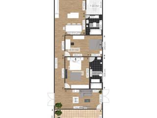 Projeto Casa Plana, 7,5x21 Cruzeiro- SP:   por Isabelle Rocha Designer de Interiores