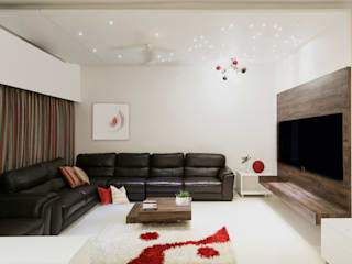 Single Family Private Residence, Ahmedabad:  Living room by A New Dimension