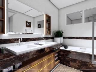 BANHEIRO SUÍTE - AEW: Banheiros  por WL MAQUETES 3D,Moderno