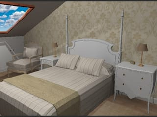 Dormitorio con abuhardillado: Dormitorios de estilo  de LUMELAR MUEBLES Y DECORACION