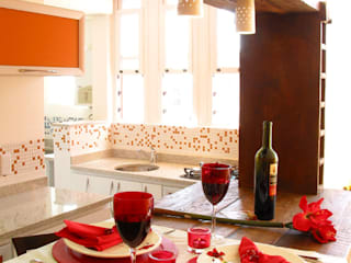 Cozinha Americana: Armários e bancadas de cozinha  por Paula Posser + Arquitetura + Branding Design,Moderno