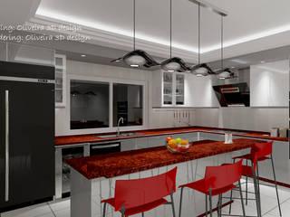 Modelagem de cozinha:   por Oliveira 3D design,Moderno