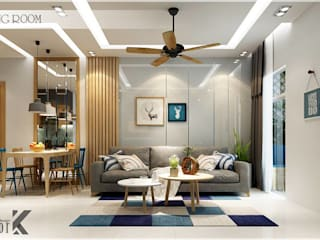 Căn Hộ The Art Đỗ Xuân Hợp Quận 09 Phòng khách phong cách châu Á bởi Công ty TNHH TMDV Decor KT Châu Á