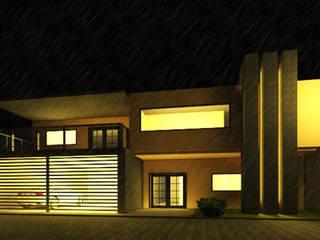 FACHADA CASA NOGALES: Casas de estilo minimalista por POLIGONO 93 ARQUITECTOS SA DE CV