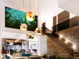 Residencia CS [León, Gto.] 3C Arquitectos S.A. de C.V. Pasillos, vestíbulos y escaleras modernos