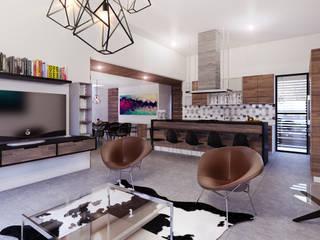 Residencia PC [León, Gto.] 3C Arquitectos S.A. de C.V. Salones modernos