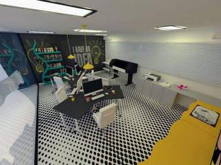 Escritório estúdio rede Espaços comerciais modernos por Mariana Macedo Interiores Moderno