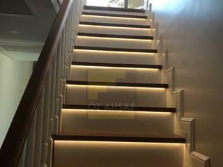 ÖZ AHŞAP MERDİVEN – Dubleks ev merdivenleri: modern tarz , Modern