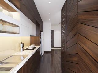 Thiết kế Chung cư Vinhomes – Chị Hiền:  Nhà bếp by Công ty CP Kiến trúc V-Home,