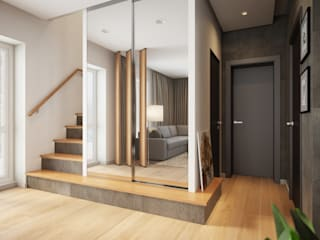 House in Tomsk EVGENY BELYAEV DESIGN Modern Corridor, Hallway and Staircase