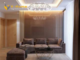 Thiết kế nội thất chung cư Mardarin garden 2, Hoà Phát – Chị An:  Phòng khách by Công ty CP Kiến trúc V-Home,