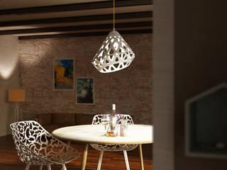 MBquadro Architetti Salas de estilo escandinavo Madera Blanco