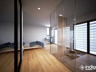 Renders MBquadro Architetti Camera da letto moderna Legno Effetto legno