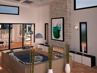 espacios visualizacion 3D: Salas de estilo rústico por okull creativo