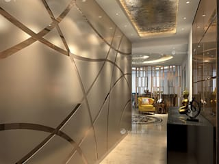 Apartment at The Belaire, DLF 5, Gurgaon (4200 sft) Modern corridor, hallway & stairs by 1pointsix18 Modern