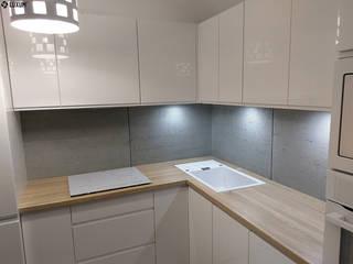 Beton architektoniczny jako okładzina w kuchni Skandynawska kuchnia od Luxum Skandynawski