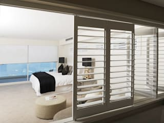 Bedroom Plantation Shutters Minimalist bedroom by TWO Australia Minimalist