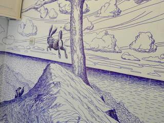 """""""Los voladores de cometas"""" / """"The kite flyers"""". Baños de estilo clásico de Jorge Fin. Murals Clásico"""