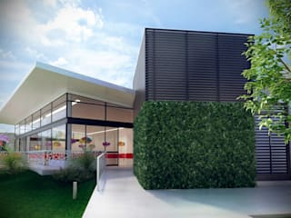 Salón de Fiestas La Paz. Detalle de muro verde.: Salones para eventos de estilo  por Soy Arquitectura
