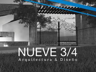 Acceso Fraccionamiento : Condominios de estilo  por Nueve 3/4