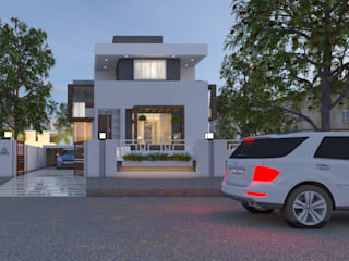 Villa Elevation:   by Abhishek Patel Environ Design Pvt Ltd