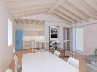 Progetto per una casa un po' al mare...un po' in montagna: Soggiorno in stile  di smellof.DESIGN,