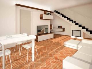 Un nuovo ingresso apre le porte ad un nuovo soggiorno...più grande!: Soggiorno in stile  di smellof.DESIGN,