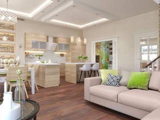 Дизайн-проект таунхауса в КП Марсель 162 кв. м.: Гостиная в . Автор – Loft&Home