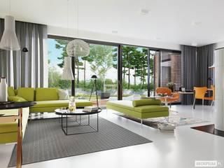 EX 19 G2 ENERGO PLUS - dom, który oddycha światłem Nowoczesny salon od Pracownia Projektowa ARCHIPELAG Nowoczesny