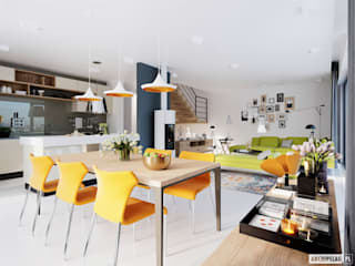 EX 19 G2 ENERGO PLUS - dom, który oddycha światłem Nowoczesna jadalnia od Pracownia Projektowa ARCHIPELAG Nowoczesny