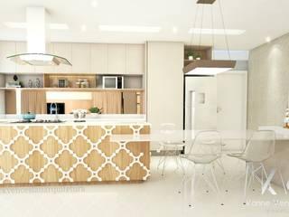 Cozinha integrada: Armários e bancadas de cozinha  por Karine Venceslau Arquitetura,Moderno