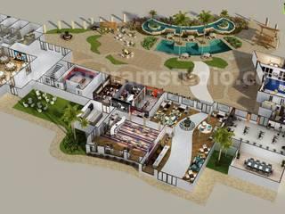 3D Resort Site Plan Layout Concept Design by Yantram online 3d floor plan Liverpool, UK Classic hotels by Yantram Architectural Design Studio Classic Concrete