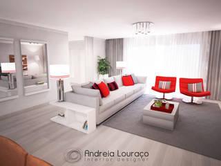 """Projecto """"Fashionable Red"""" By Atelier Andreia Louraço: Salas de estar  por Andreia Louraço - Designer de Interiores (Contacto: atelier.andreialouraco@gmail.com)"""