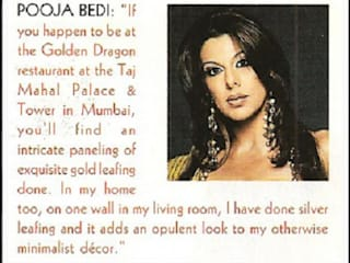 Silver Leafing done for Bollywood Actress Pooja Bedi House:  Bedroom by TGLS / Shehzad Khan,