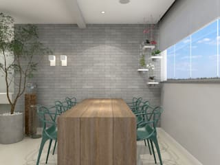 RAFE Arquitetura e Design Eclectic style dining room Bricks Grey