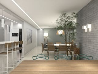 RAFE Arquitetura e Design Minimalist dining room Wood Grey