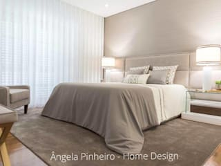 Ângela Pinheiro Home Design Eclectic style bedroom Wood effect