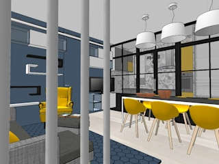 Living e cucina con lavanderia Soggiorno moderno di INTERNO 75 Moderno