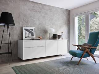Weißes Design Sideboard auf Sockel:   von Livarea