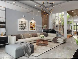 Thiết kế nhà phố Đồng Nai: Gần gũi thiên nhiên với không gian xanh:  Phòng khách by Công ty cổ phần đầu tư xây dựng Không Gian Đẹp ,