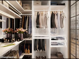 Chambre de style  par Công ty cổ phần đầu tư xây dựng Không Gian Đẹp , Moderne