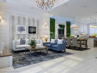 Thiết kế nhà phố Gò Vấp: Phong cách bán cổ điển:  Phòng khách by Công ty cổ phần đầu tư xây dựng Không Gian Đẹp ,