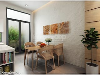 Thiết kế nhà phố Tân Phú: Vẻ đẹp bình dị chan hoà thiên nhiên:  Phòng ăn by Công ty cổ phần đầu tư xây dựng Không Gian Đẹp ,