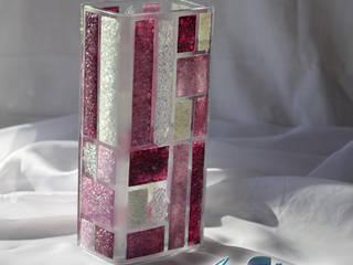 Vase violet white 20 cm square:   by ArteGlass