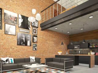 Salon de style  par AT The Studio, Industriel