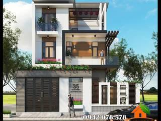 Mẫu biệt thự 3 tầng hiện đại mái lệch 8x17m đẹp tinh tế trên từng chi tiết Công ty TNHH TKXD Nhà Đẹp Mới Biệt thự