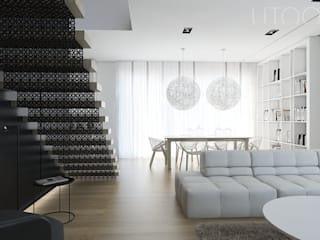 AŻUROWA SUBTELNOŚĆ Nowoczesny salon od UTOO-Pracownia Architektury Wnętrz i Krajobrazu Nowoczesny