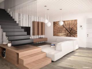 Ville bifamiliari in legno - soggiorno: Soggiorno in stile  di Marlegno